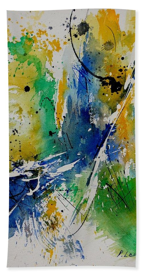 Abstract Hand Towel featuring the painting Watercolor 902180 by Pol Ledent
