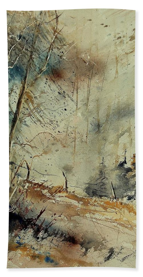 River Hand Towel featuring the painting Watercolor 902190 by Pol Ledent