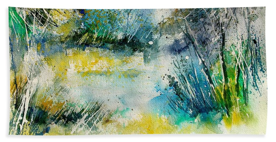 Water Bath Towel featuring the painting Watercolor 906020 by Pol Ledent