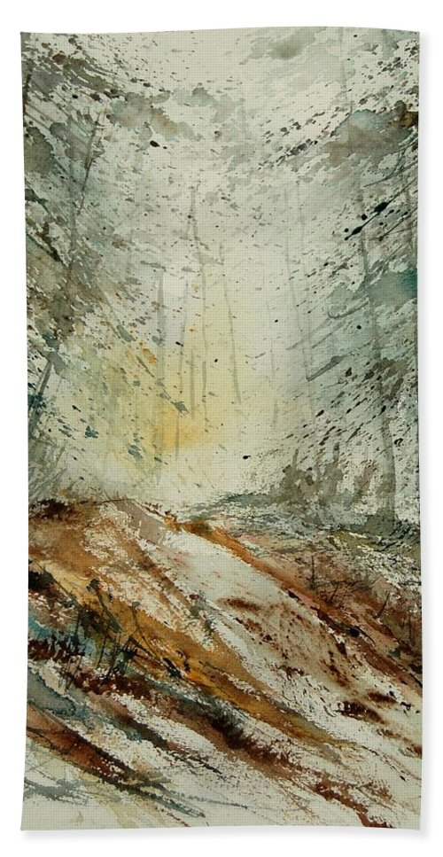 River Hand Towel featuring the painting Watercolor 907013 by Pol Ledent
