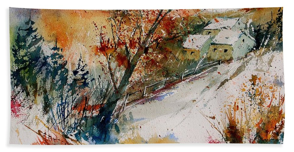 Tree Hand Towel featuring the painting Watercolor 908002 by Pol Ledent