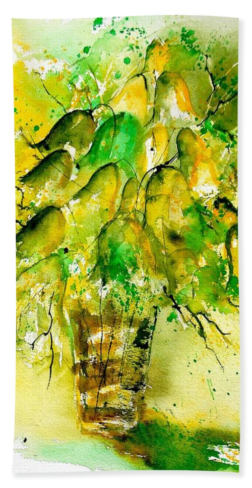 Flowers Bath Towel featuring the painting Watercolor 90801 by Pol Ledent