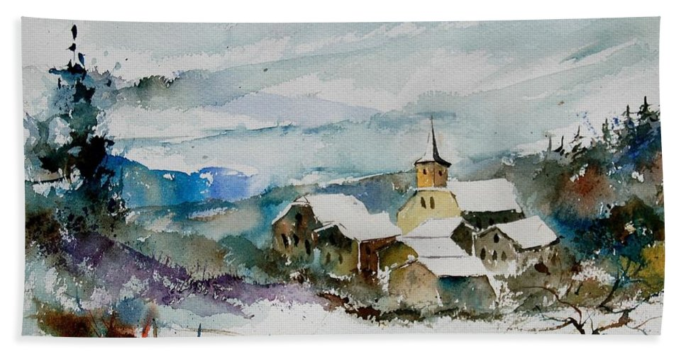 Winter Hand Towel featuring the painting Watercolor 908011 by Pol Ledent