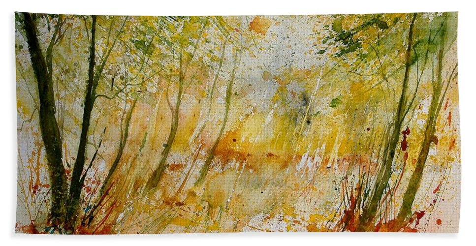 Tree Hand Towel featuring the painting Watercolor 908012 by Pol Ledent
