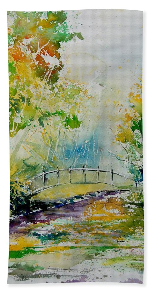 Water Bath Towel featuring the painting Watercolor 908020 by Pol Ledent