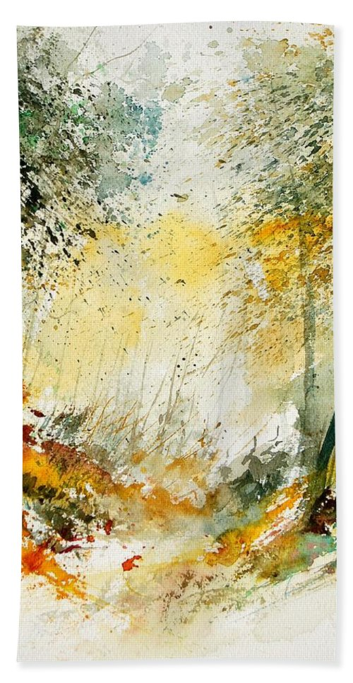 Tree Hand Towel featuring the painting Watercolor 908021 by Pol Ledent