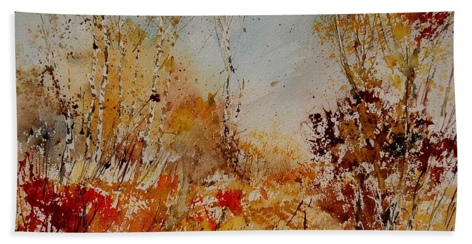 Tree Bath Towel featuring the painting Watercolor 908031 by Pol Ledent