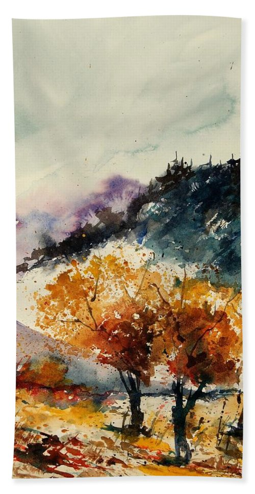 Tree Bath Towel featuring the painting Watercolor 908041 by Pol Ledent