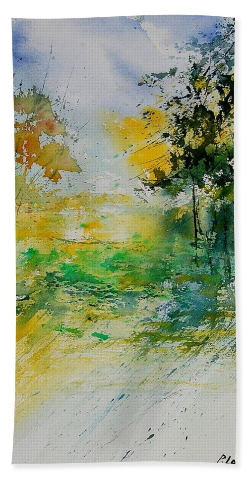 Water Hand Towel featuring the painting Watercolor 908051 by Pol Ledent