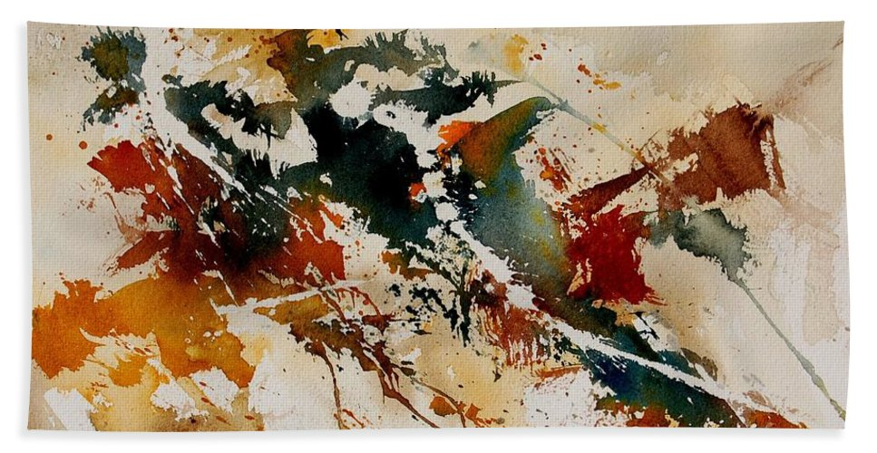 Abstract Bath Sheet featuring the painting Watercolor 90861 by Pol Ledent
