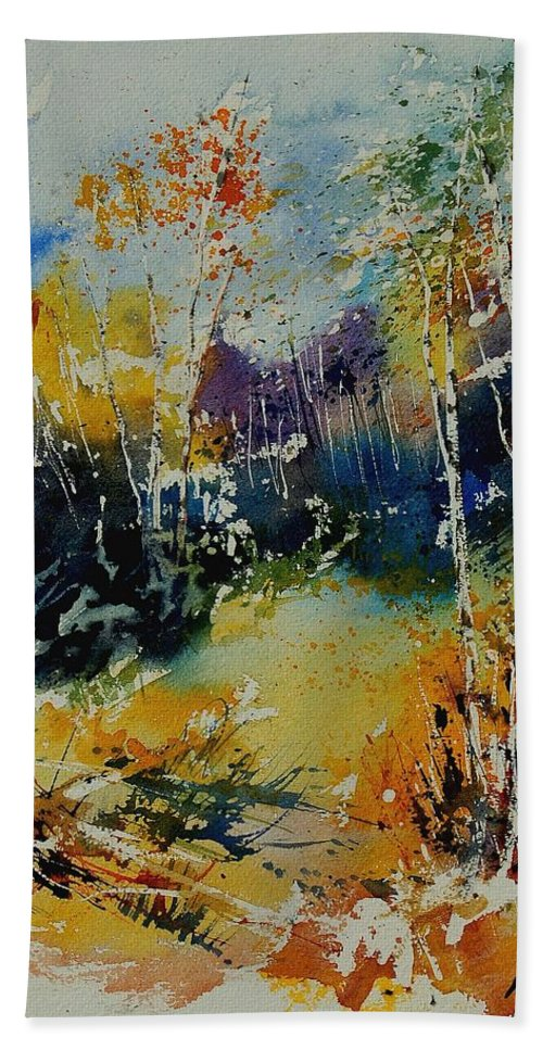 Tree Hand Towel featuring the painting Watercolor 909052 by Pol Ledent