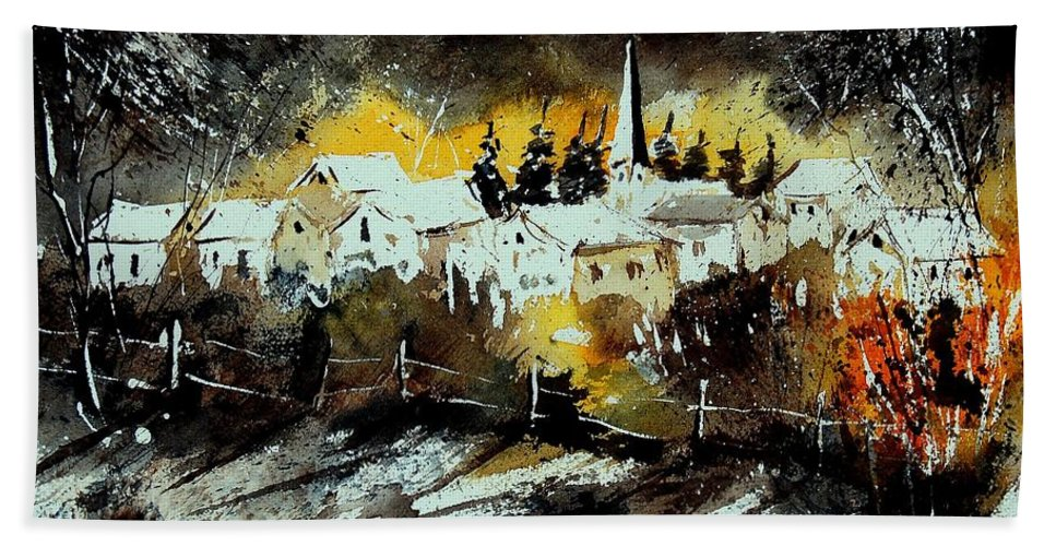 River Hand Towel featuring the painting Watercolor 909072 by Pol Ledent