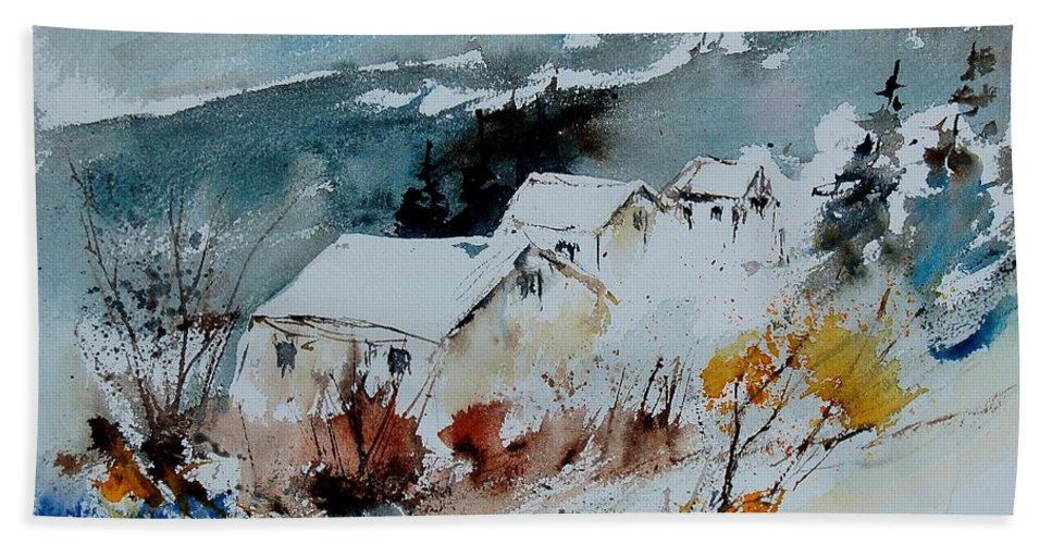 Winter Hand Towel featuring the painting Watercolor 9090723 by Pol Ledent