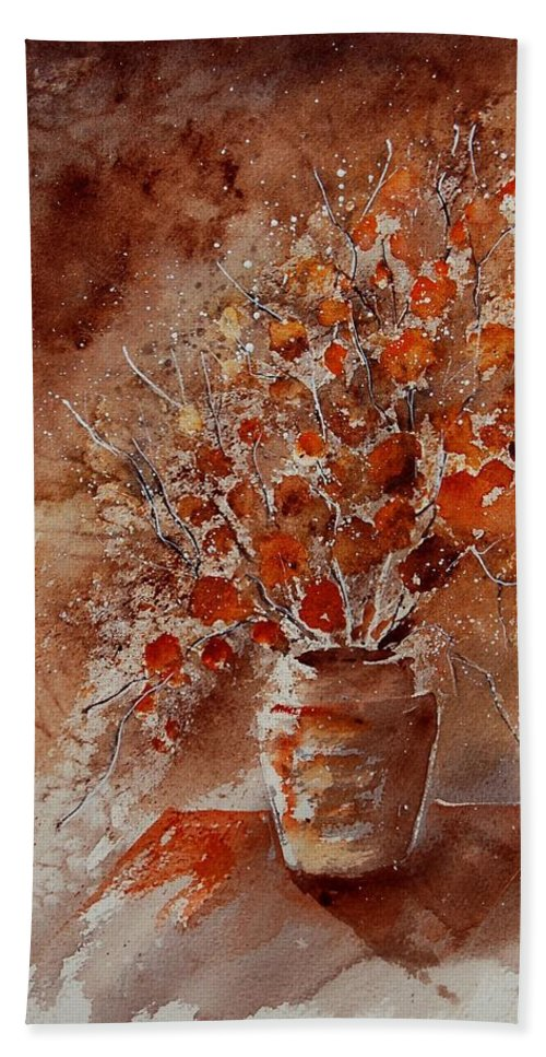 Poppies Bath Towel featuring the painting Watercolor Autumn Bunch by Pol Ledent