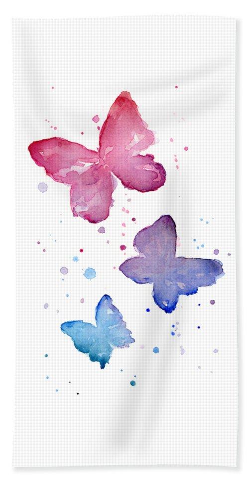 Watercolor Bath Towel featuring the painting Watercolor Butterflies by Olga Shvartsur