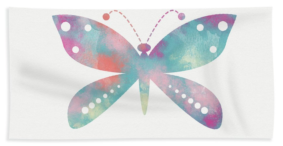 Butterfly Hand Towel featuring the mixed media Watercolor Butterfly 3-art By Linda Woods by Linda Woods
