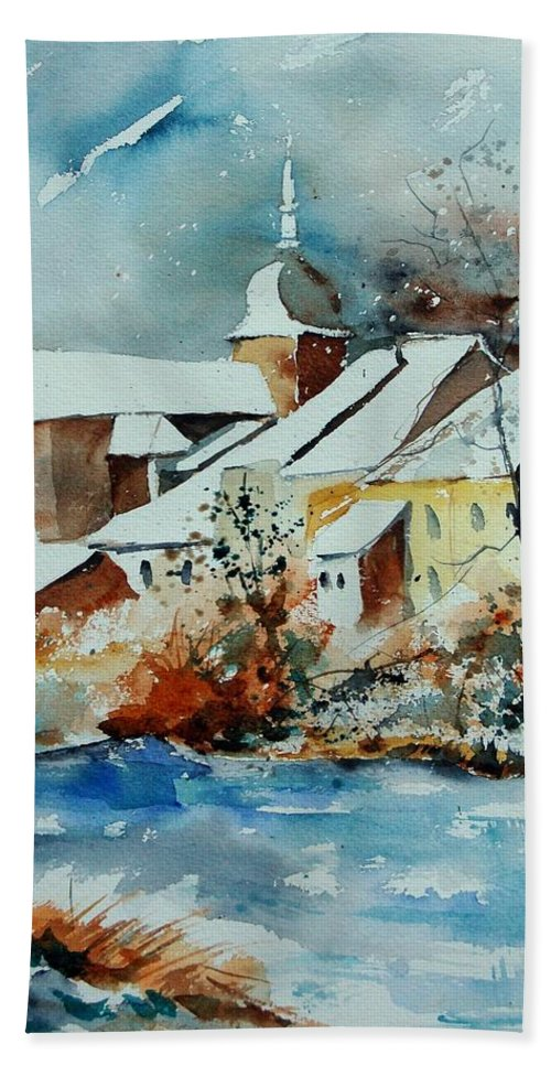 Landscape Hand Towel featuring the painting Watercolor Chassepierre by Pol Ledent