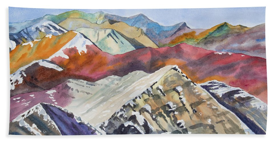 Elk Range Bath Sheet featuring the painting Watercolor - Colorado Elk Range View by Cascade Colors