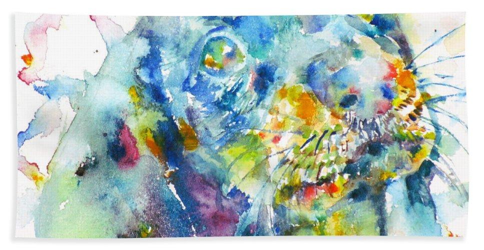 Dachshund Bath Sheet featuring the painting Watercolor Dachshund by Fabrizio Cassetta