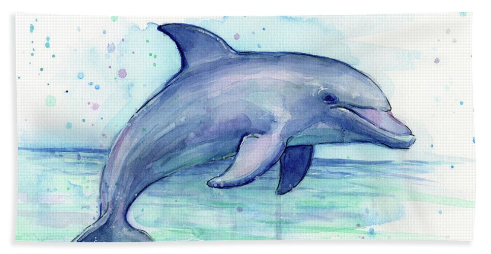 Dolphin Bath Towel featuring the painting Watercolor Dolphin Painting - Facing Right by Olga Shvartsur