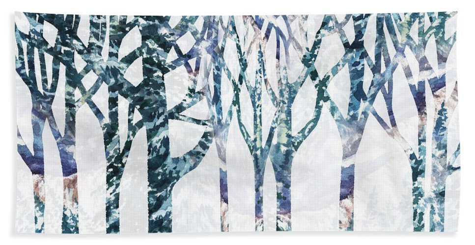 Watercolor Forest Hand Towel featuring the painting Watercolor Forest Silhouette Winter by Irina Sztukowski