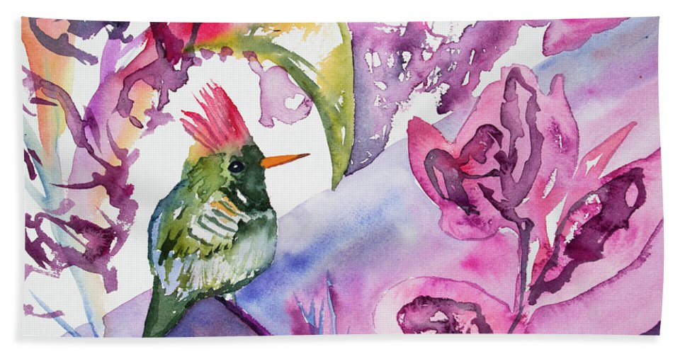 Art Hand Towel featuring the painting Watercolor - Frilled Coquette Hummingbird With Colorful Background by Cascade Colors
