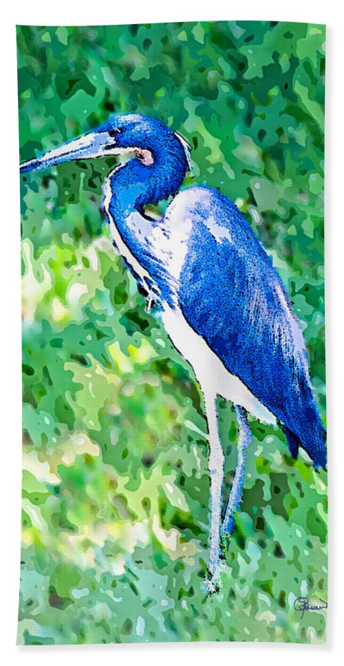 susan Molnar Hand Towel featuring the photograph Watercolor Heron In Grass by Susan Molnar