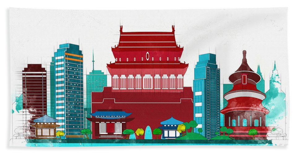 Poster Hand Towel featuring the digital art Watercolor Illustration Of Beijing by Don Kuing