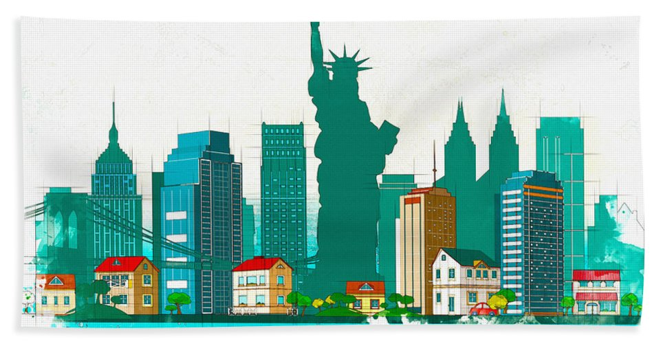 Poster Hand Towel featuring the digital art Watercolor Illustration Of New York by Don Kuing