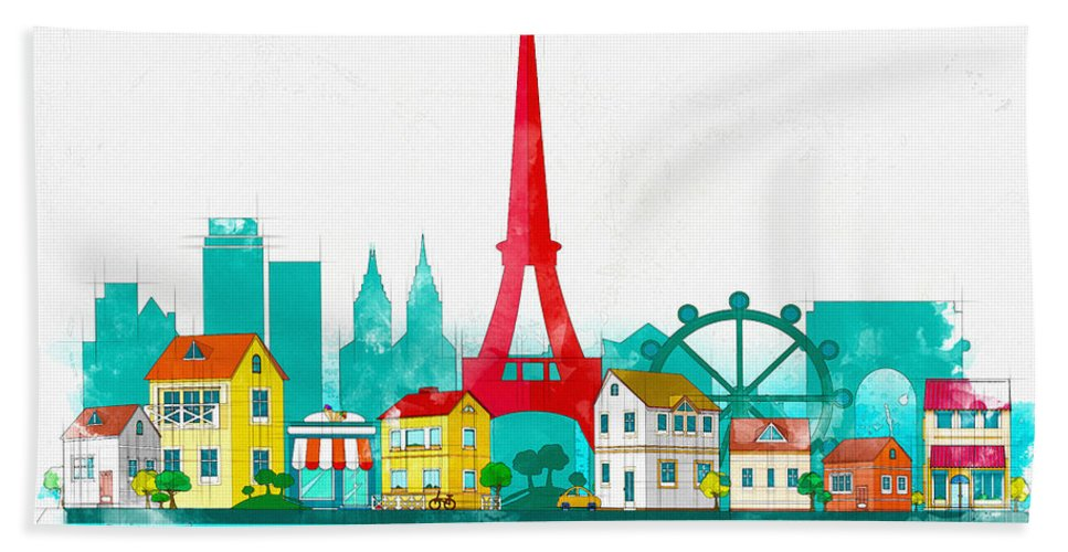 Poster Hand Towel featuring the digital art Watercolor Illustration Of Paris by Don Kuing