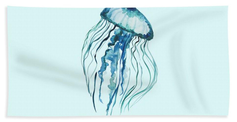 Watercolor Jellyfish Hand Towel featuring the painting Watercolor Jellyfish by Ilze Lucero