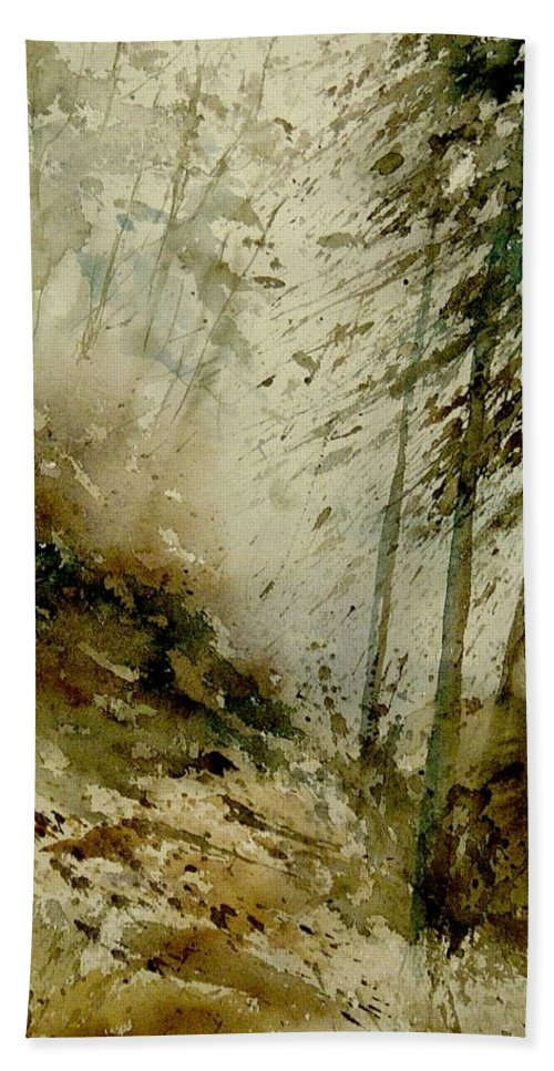 Landscape Hand Towel featuring the painting Watercolor Misty Atmosphere by Pol Ledent