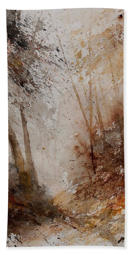 Landscape Hand Towel featuring the painting Watercolor Misty Path by Pol Ledent