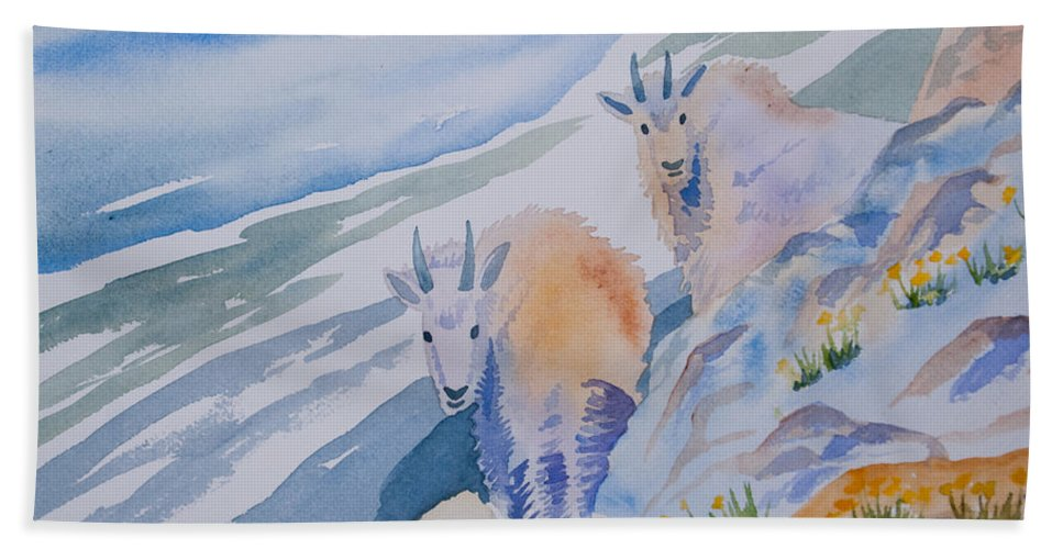 Mountain Goat Bath Towel featuring the painting Watercolor - Mountain Goats On Quandary by Cascade Colors