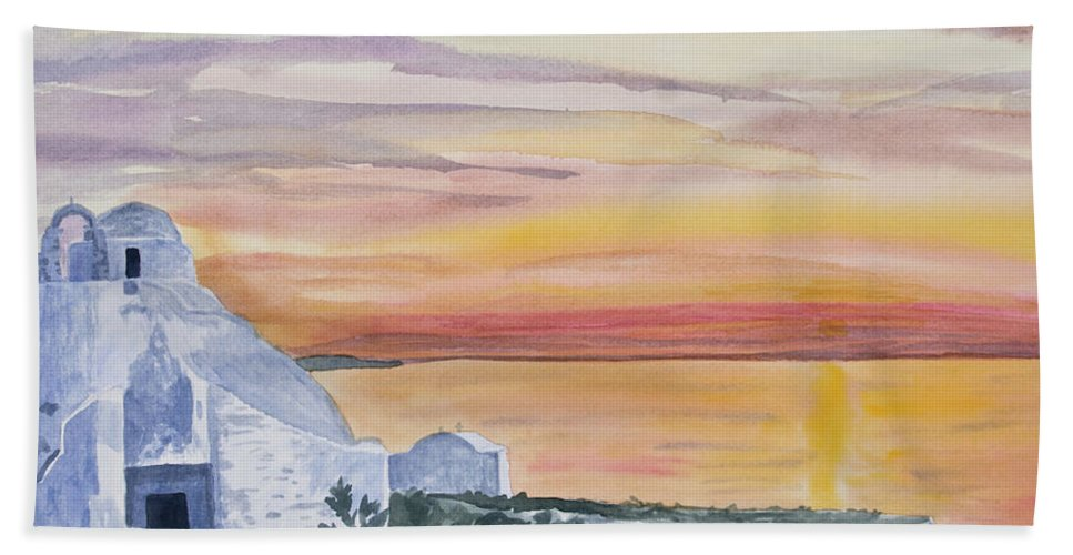 Art Hand Towel featuring the painting Watercolor - Mykonos Sunset by Cascade Colors