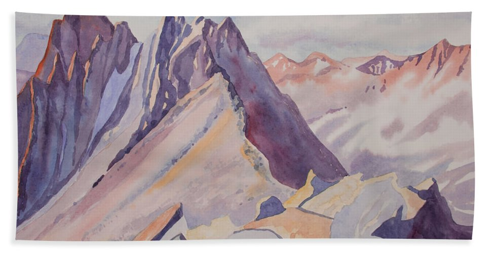 Mount Sneffels Bath Sheet featuring the painting Watercolor - Near The Top Of Mount Sneffels by Cascade Colors