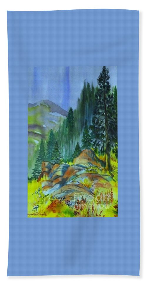 Watercolor Of Forest In Mountains Bath Towel featuring the painting Watercolor of Mountain Forest by Annie Gibbons