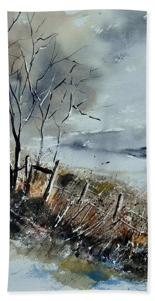 Landscape Hand Towel featuring the painting Watercolor by Pol Ledent