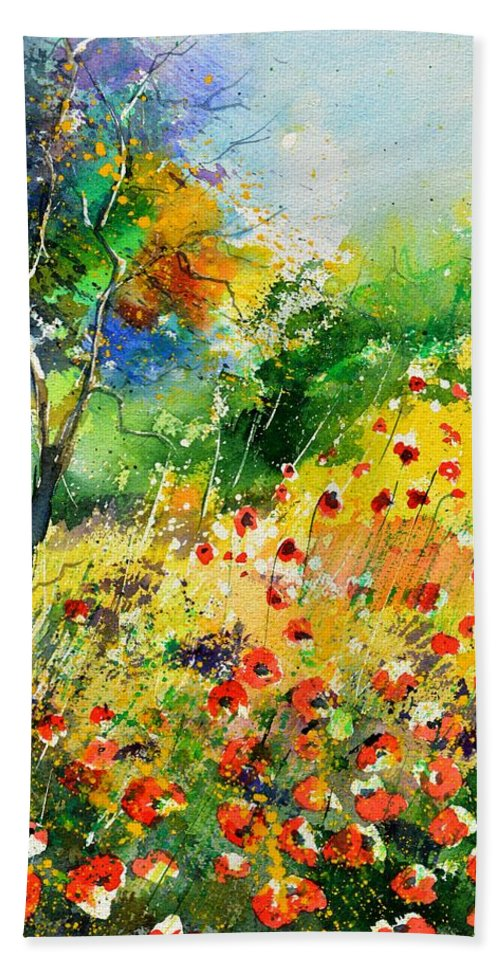 Poppies Bath Towel featuring the painting Watercolor poppies 518001 by Pol Ledent