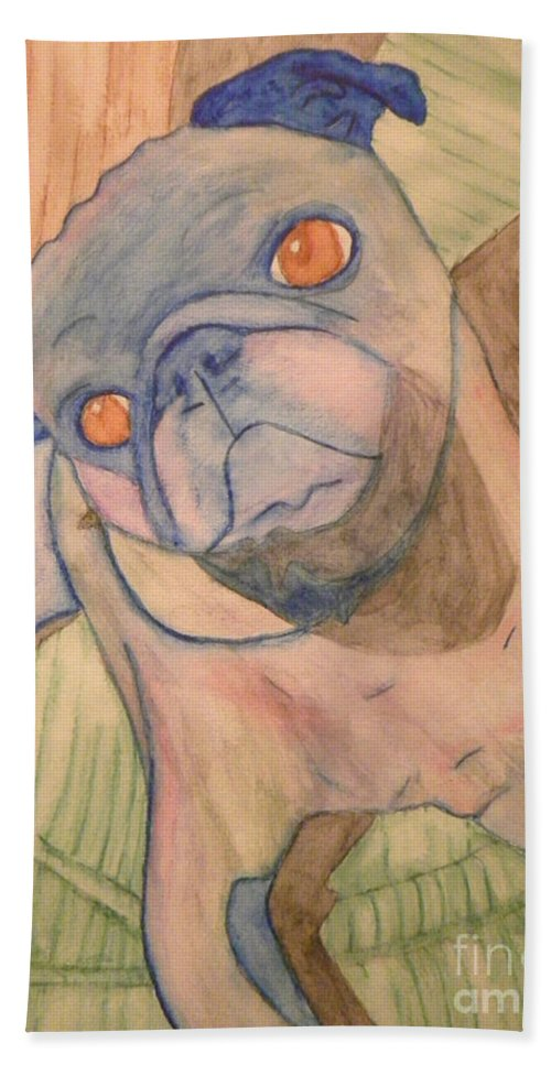 Hand Towel featuring the painting Watercolor Pug by Purely Pugs Design