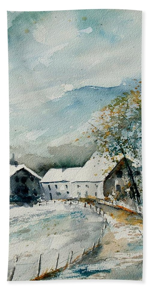 River Hand Towel featuring the painting Watercolor Sechery 1207 by Pol Ledent