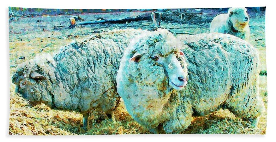 Sheep Bath Sheet featuring the photograph Watercolor Sheep by Vicki Dreher