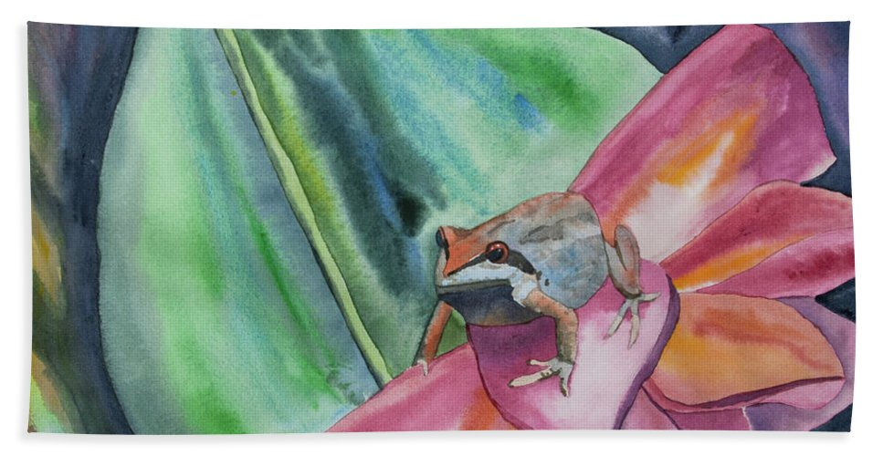 Tree Frog Hand Towel featuring the painting Watercolor - Small Tree Frog On A Colorful Flower by Cascade Colors