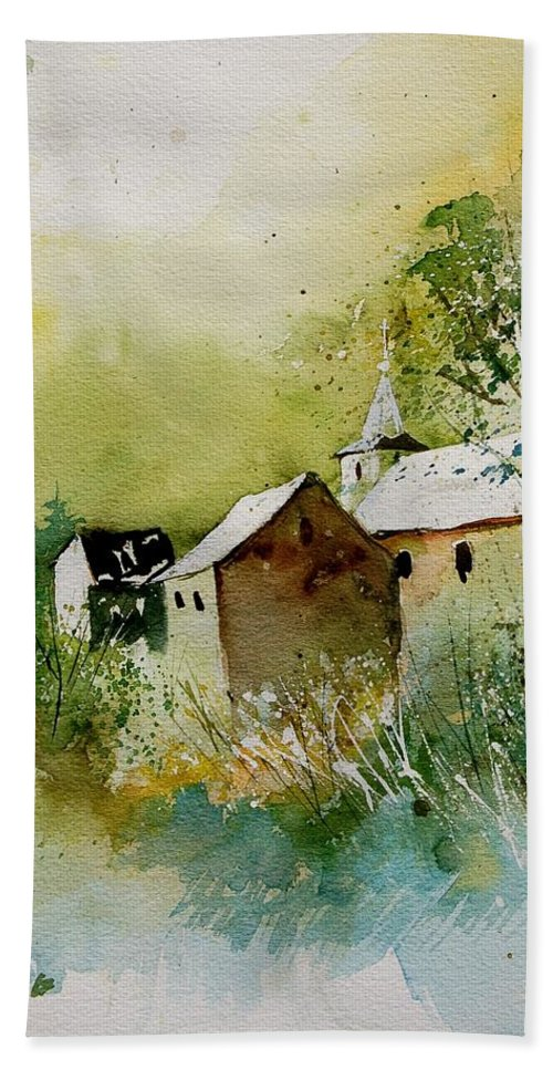 Landscape Bath Sheet featuring the painting Watercolor Sosoye by Pol Ledent