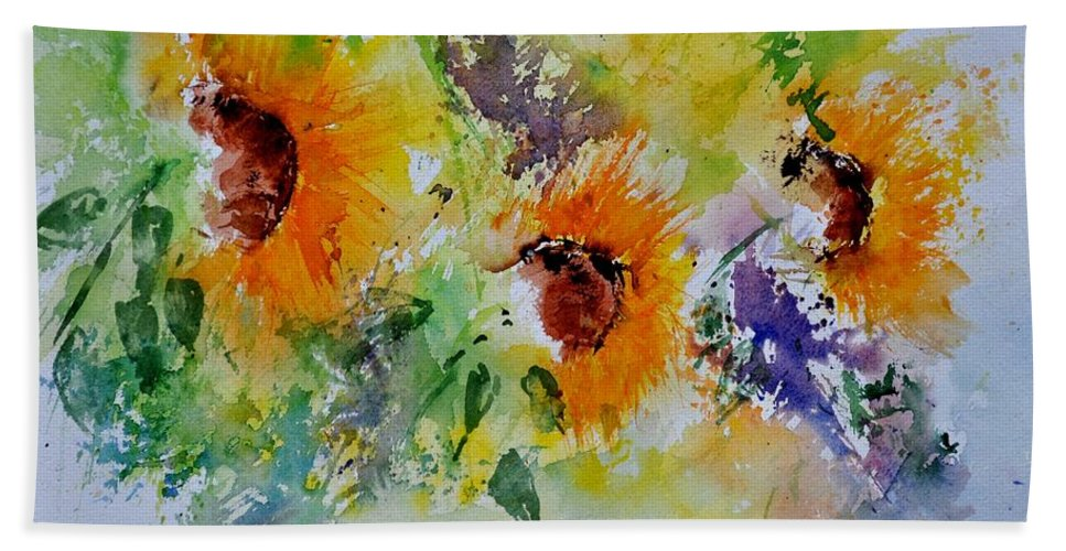 Flowers Hand Towel featuring the painting Watercolor Sunflowers by Pol Ledent