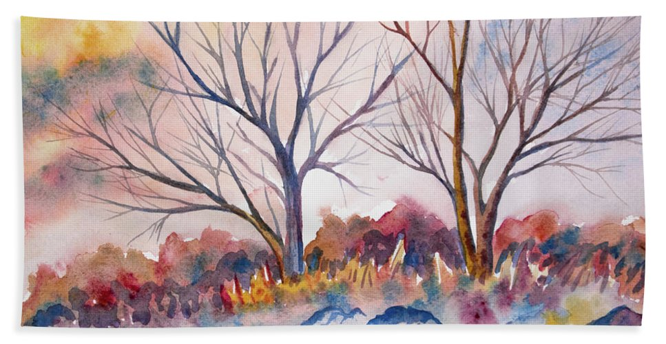 Tree Bath Sheet featuring the painting Watercolor - Trees And Woodland Meadow by Cascade Colors