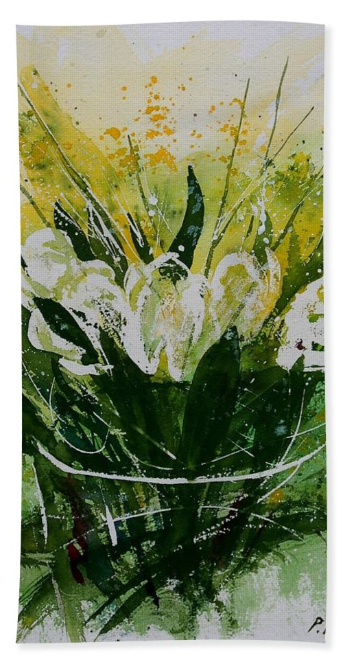 Flowers Hand Towel featuring the painting Watercolor Tulips by Pol Ledent