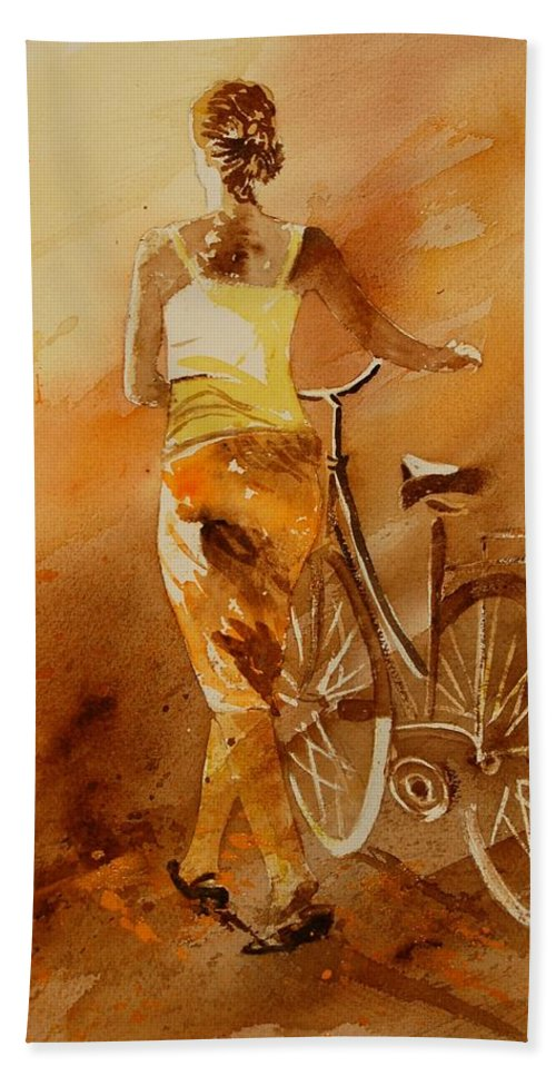Figurative Hand Towel featuring the painting Watercolor With My Bike by Pol Ledent