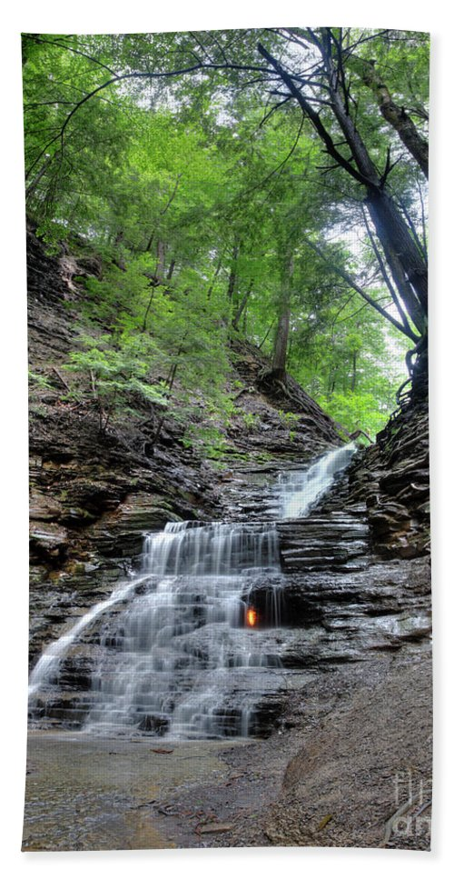 Eternal Flame Hand Towel featuring the photograph Waterfall And Natural Gas by Ted Kinsman