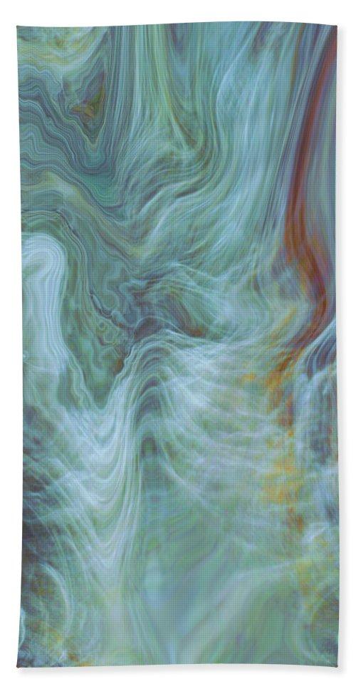 Spiritual Art Bath Sheet featuring the digital art Waterfall Angel by Linda Sannuti